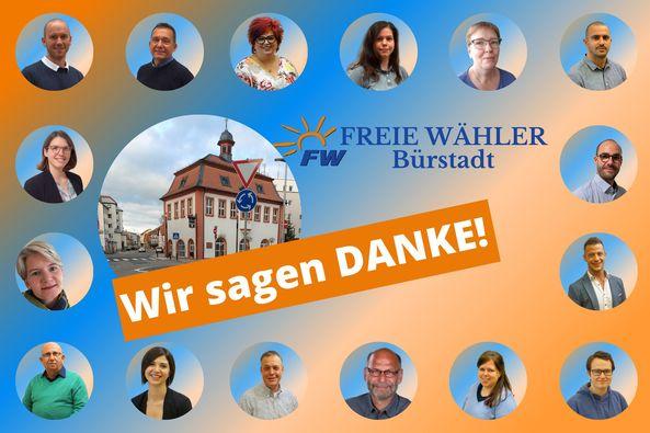 Bild danke für die Kommunalwahl Freie Wähler Bürstadt
