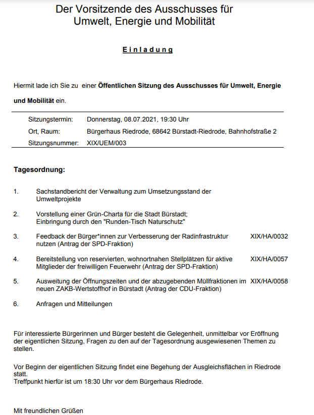 Tagesordnung Ausschusses für Umwelt, Energie und Mobilität Buerstadt